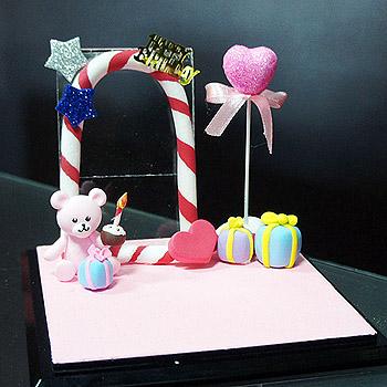 HAPPY BIRTHDAY單人公仔場景-粉色(含防塵框)